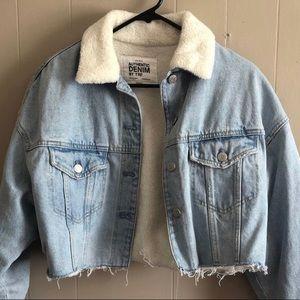 Zara Faux Fur Lined Raw Cropped Denim Jean Jacket
